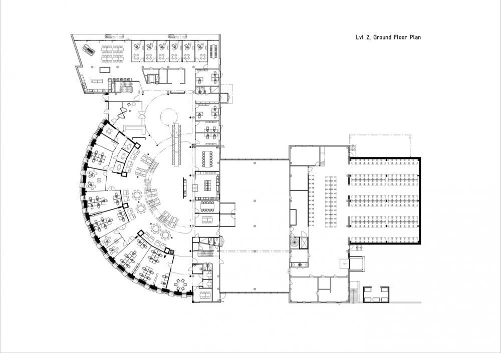 Sơ đồ thiết kế tầng 2 của tòa nhà Paf