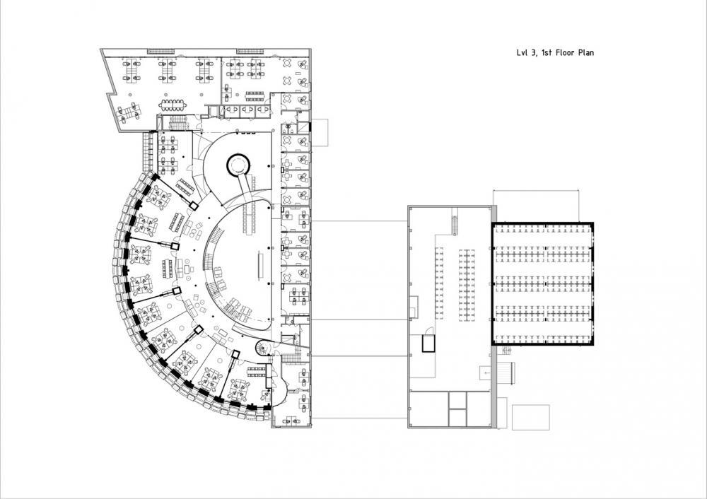 Sơ đồ thiết kế tầng 3 của tòa nhà Paf