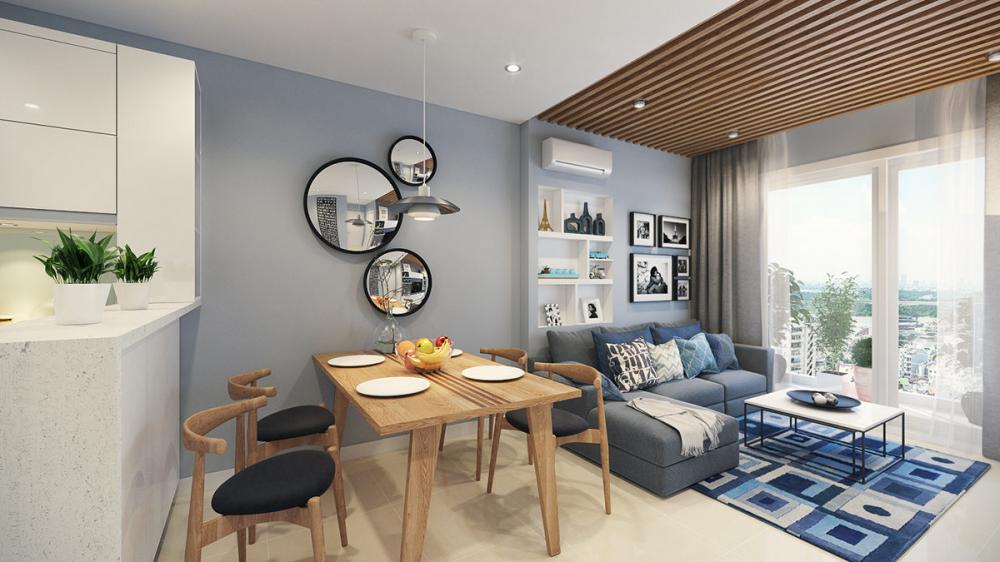 Căn hộ có diện tích nhỏ nên sử dụng nội thất thiết kế riêng để vừa tạo sự hài hòa về tổng thể vừa đáp ứng sở thích của gia chủ
