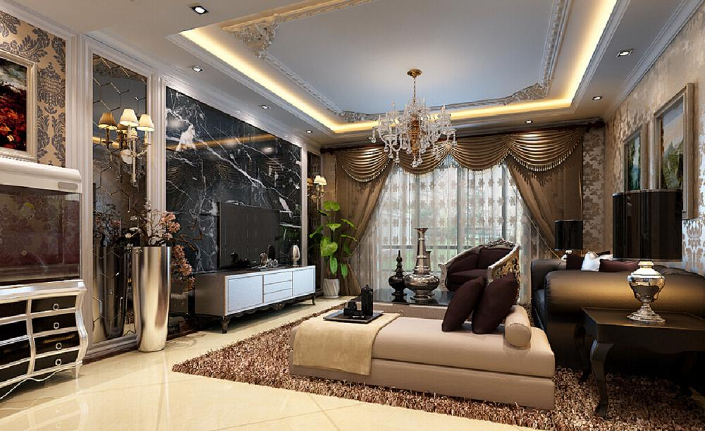 Nội thất phòng khách được thiết kế theo phong cách nội thất tân cổ điển châu Âu luôn lấy tone màu nâu trầm làm chủ đạo