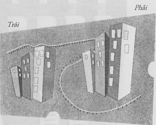 khu nhà ở bên trái hẹp hơn bên phải