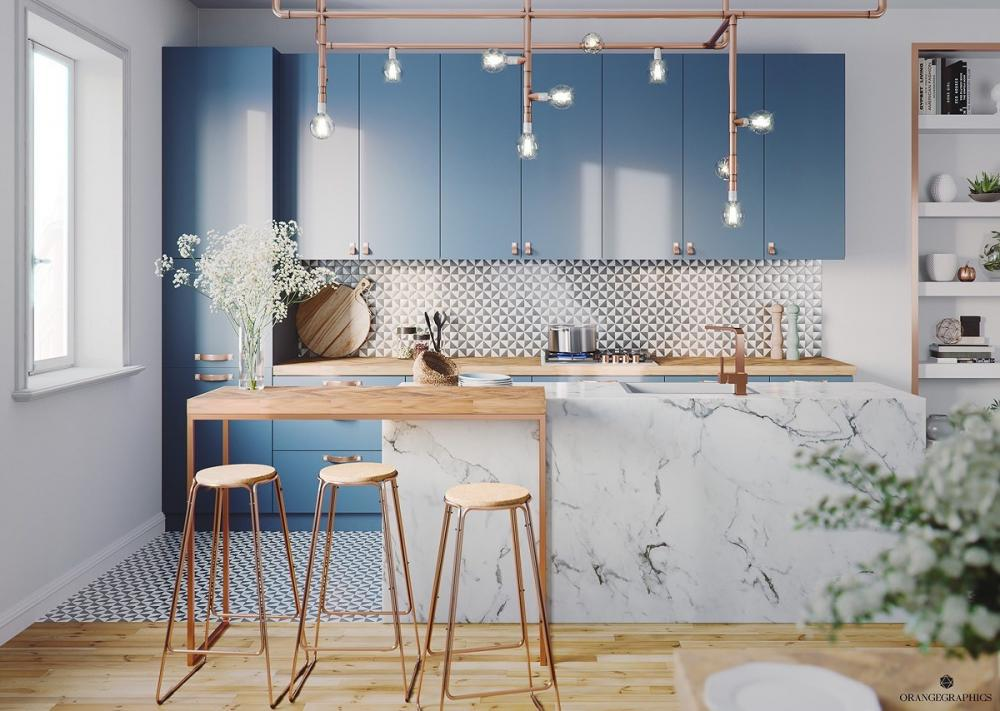 tủ bếp màu xanh dương