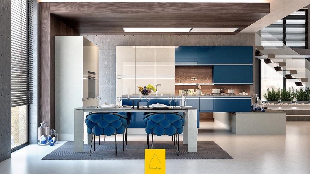 Phòng bếp nhỏ màu xanh dương