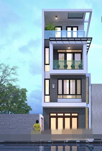 Ngôi nhà mái bằng thiết kế 4 tầng thông thoáng