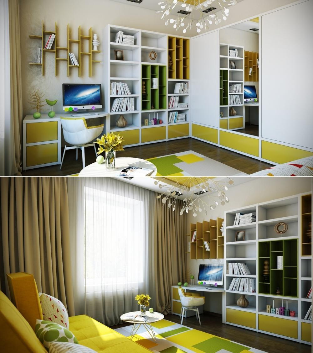 phòng ngủ màu vàng chanh