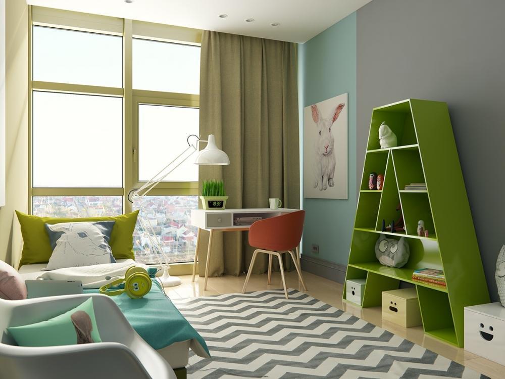 mẫu phòng ngủ trẻ em màu xanh cốm