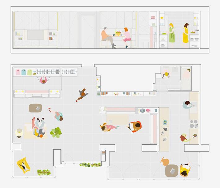 bố trí trong không gian trong căn hộ nhỏ