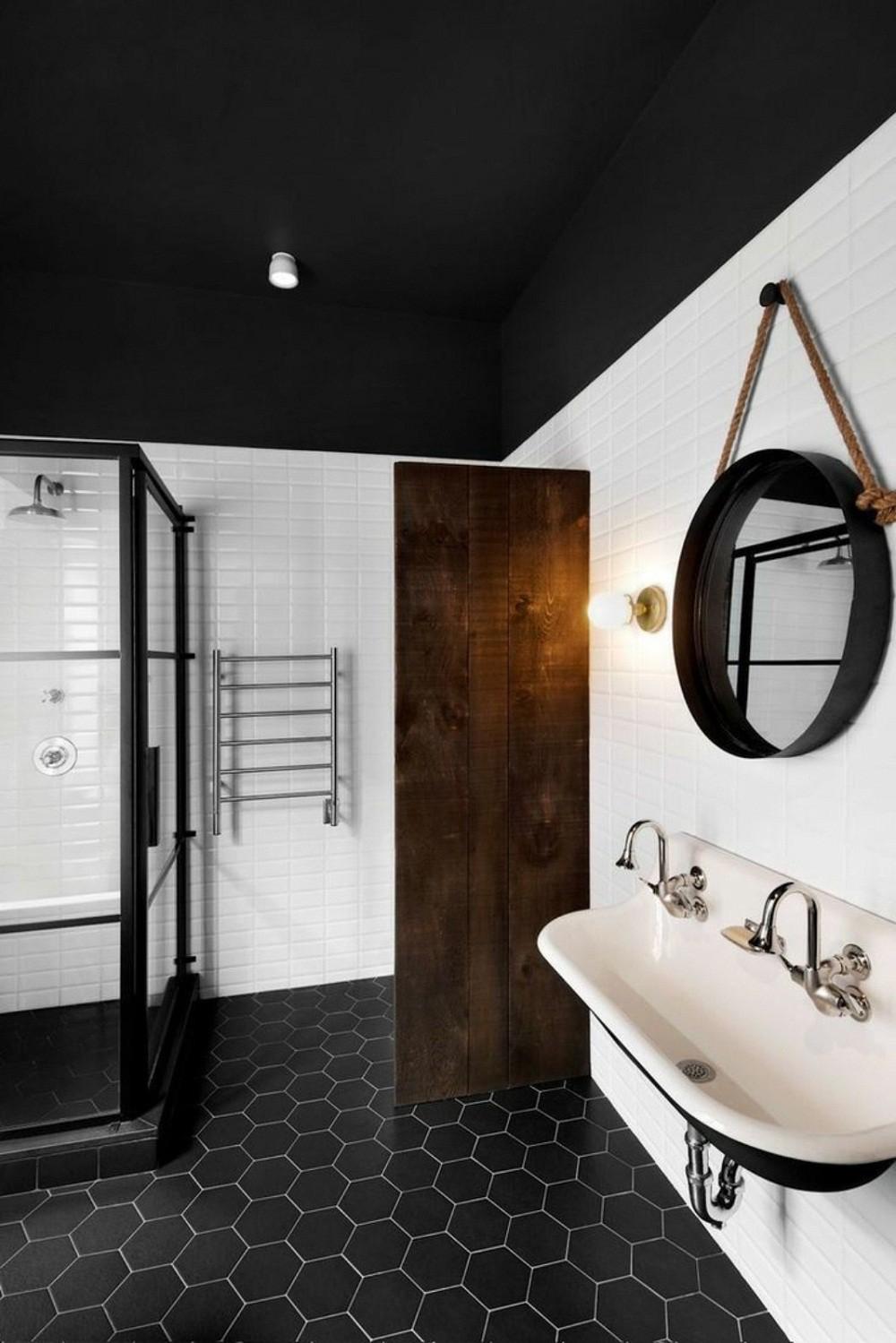 mẫu phòng tắm đen - trắng ấn tượng