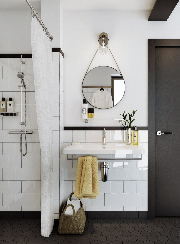 mẫu phòng tắm đen - trắng hiện đại