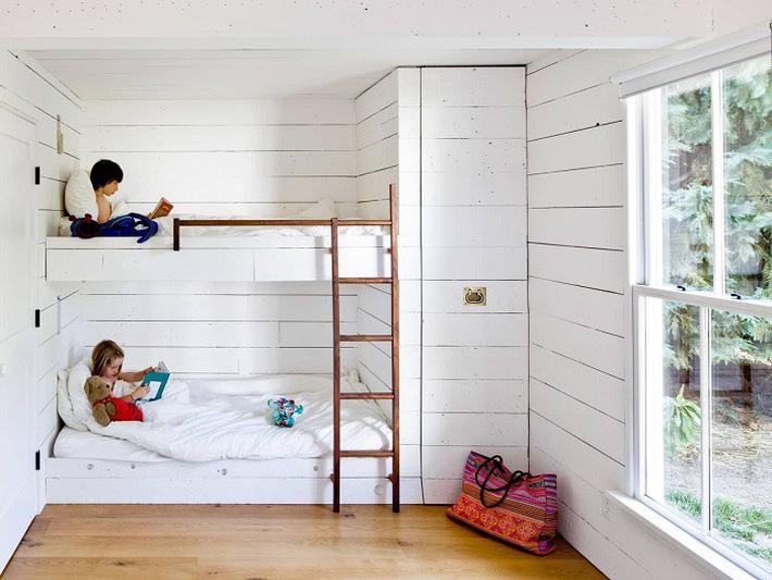 Mẫu giường tầng màu trắng