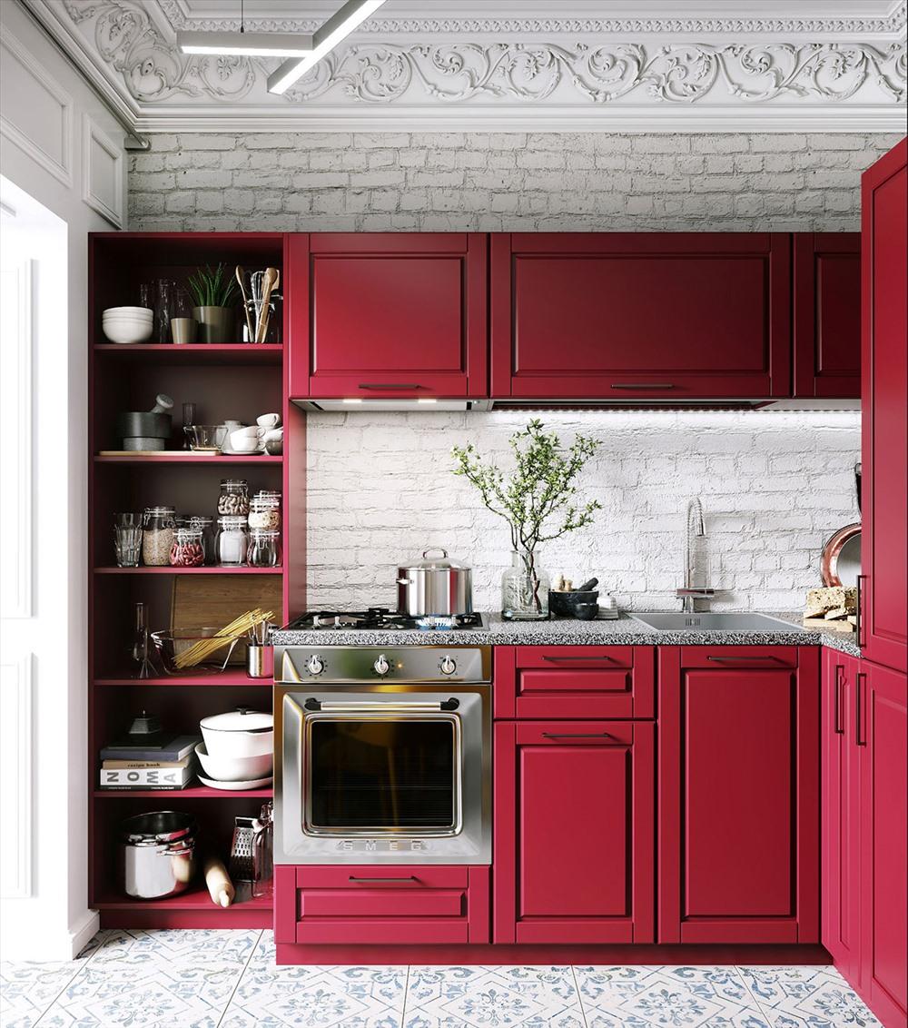 Mẫu bếp hình chữ L màu hồng