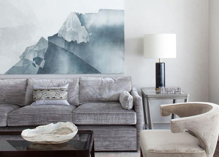 Phòng khách với màu xám ấn tượng