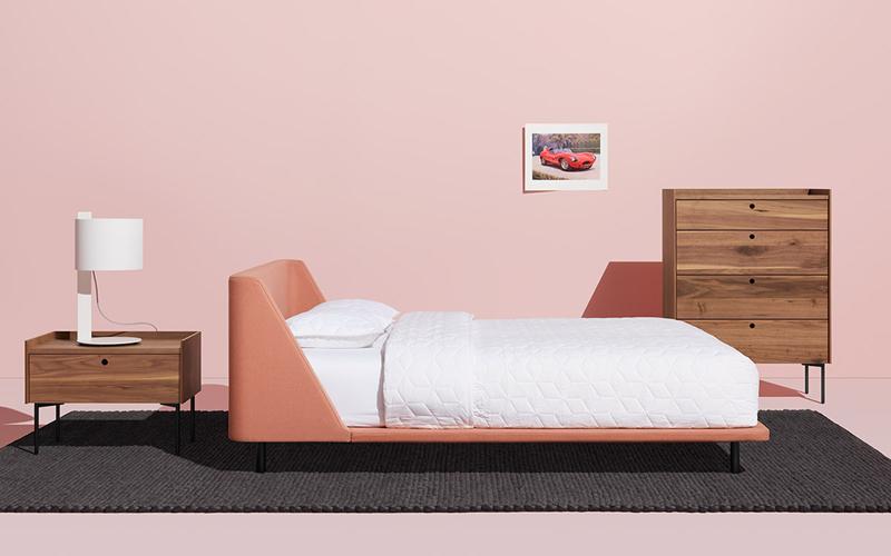 giường màu hồng san hô
