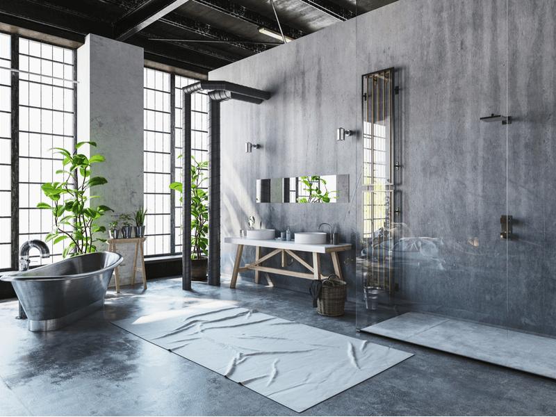 phòng tắm phong cách công nghiệp