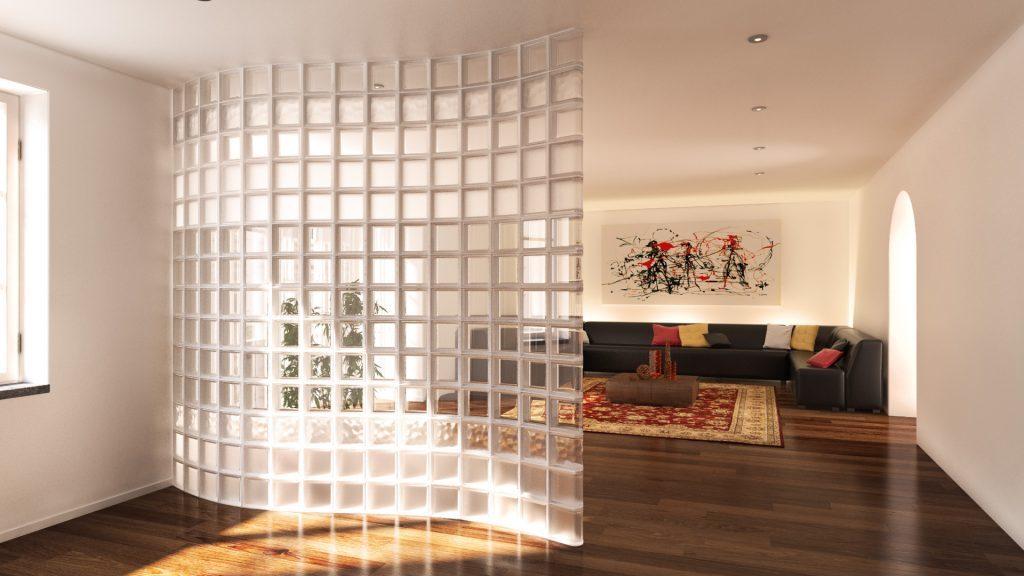 tường ngăn làm từ gạch kính