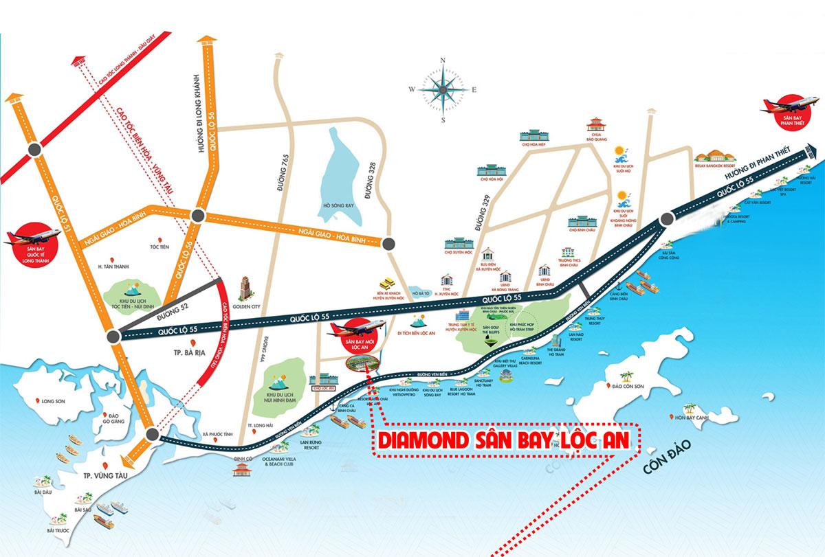 Vị trí dự án Diamond Lộc An