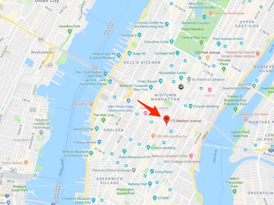 vị trí 172 Madison Avenue