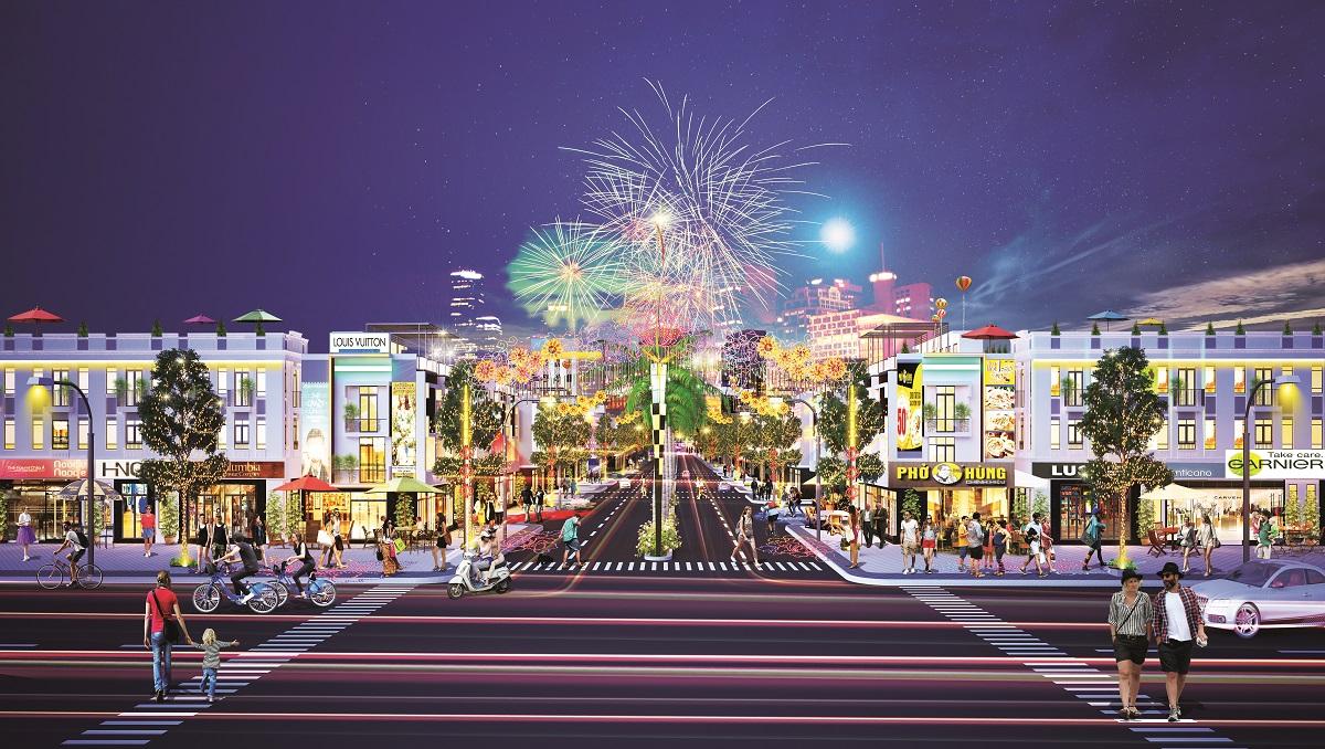 Phố đi bộ kết hợp mua sắm tại Hana Garden Mall.