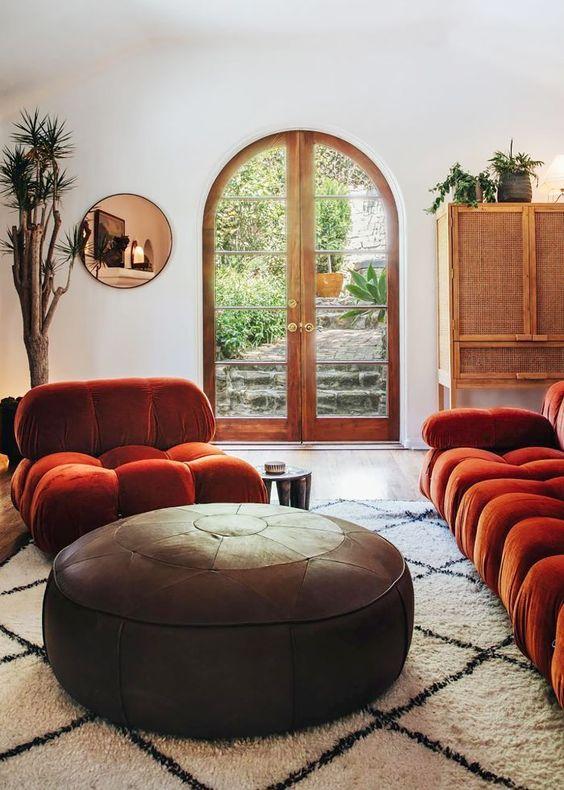 bộ sofa màu cam