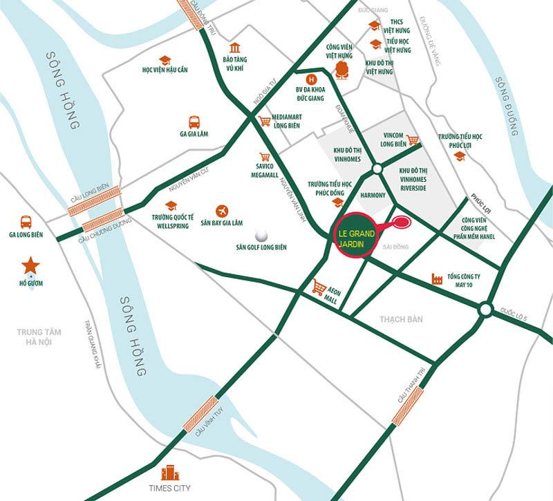 Sơ đồ vị trí dự án Le Grand Jardin Sài Đồng quận Long Biên