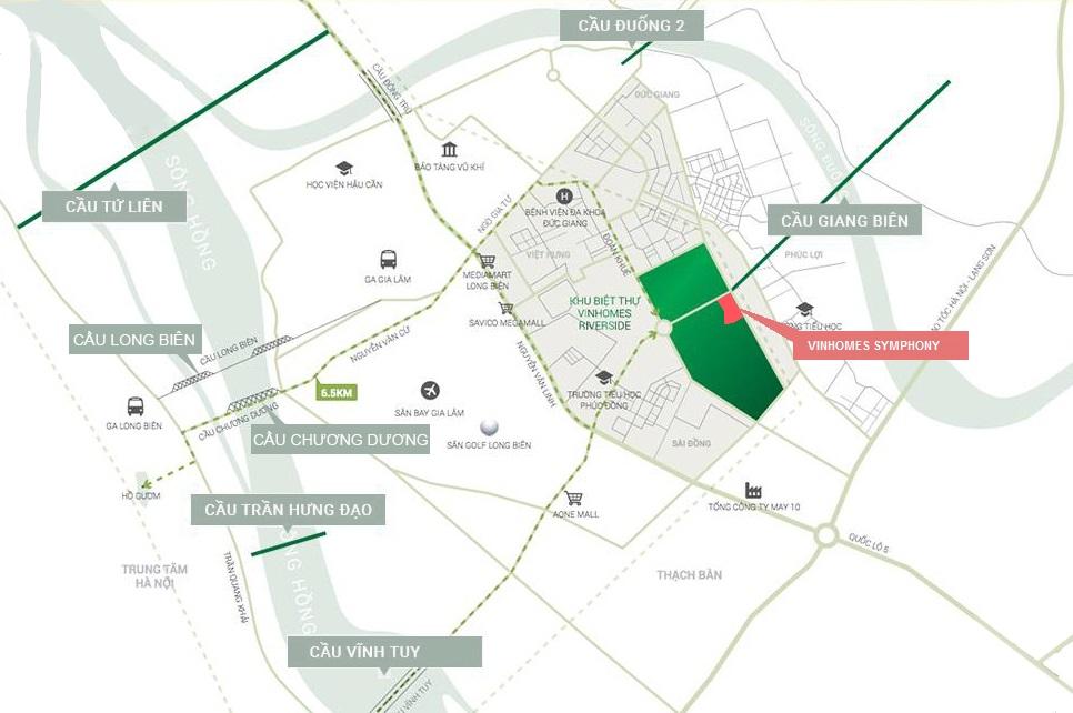 vị trí dự án Vinhomes Symphony Riverside trên bản đồ