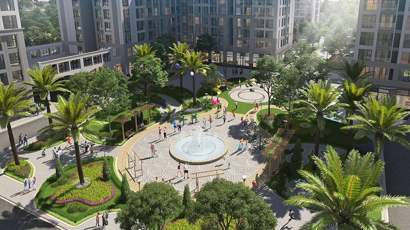 Vườn cây cảnh quan nội khu tại Vinhomes Symphony Riverside
