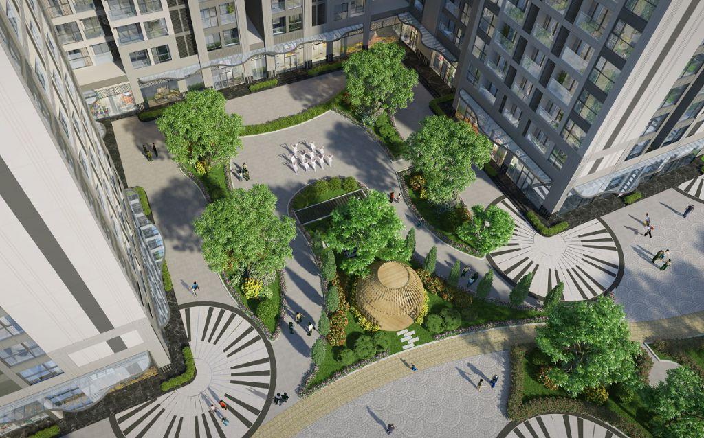 Quảng trường nội khu tại dự án Vinhomes Symphony Riverside