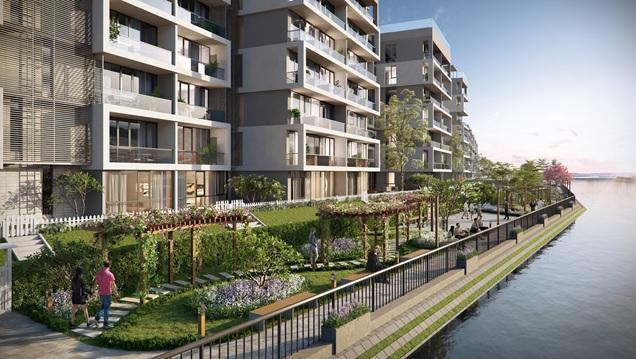 Tại một dự án căn hộ hạng sang nằm ven hồ, có 2 người nắm tay nhau đi dưới hàng xây xanh