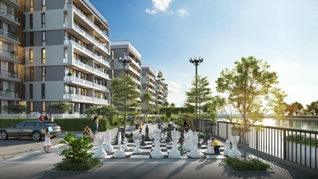 Quang cảnh quảng trường một dự án căn hộ hạng sang, có nhiều người đang vui chơi