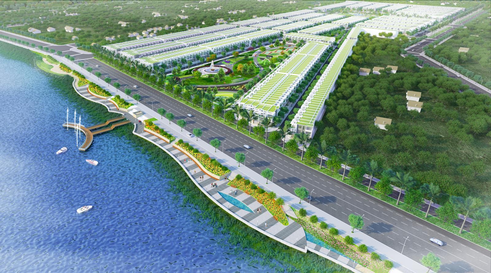 Phối cảnh một dự án bất động sản nằm sát đường quốc lộ ven sông