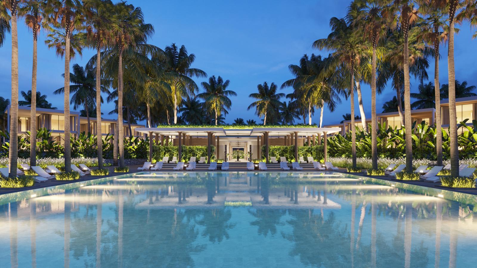 Dự án bất động sản nghỉ dưỡng có hồ bơi trong xanh, nhiều cây xung quanh