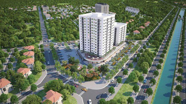 phối cảnh dự án chung cư nằm giữa ngã ba đường, xung quanh có nhiều cây xanh