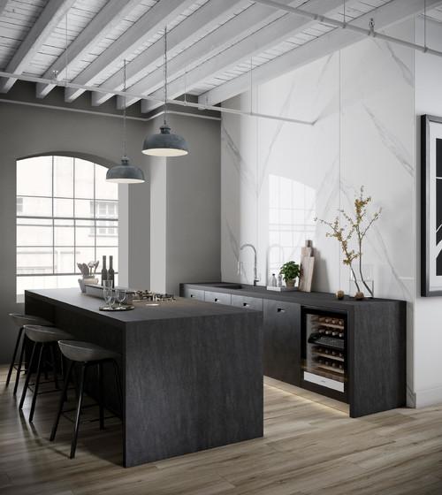 tủ bếp tông màu trầm