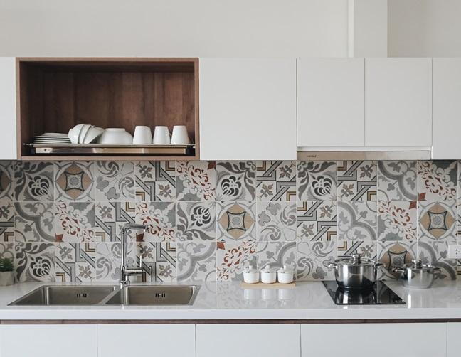 gạch men được sử dụng trong căn bếp