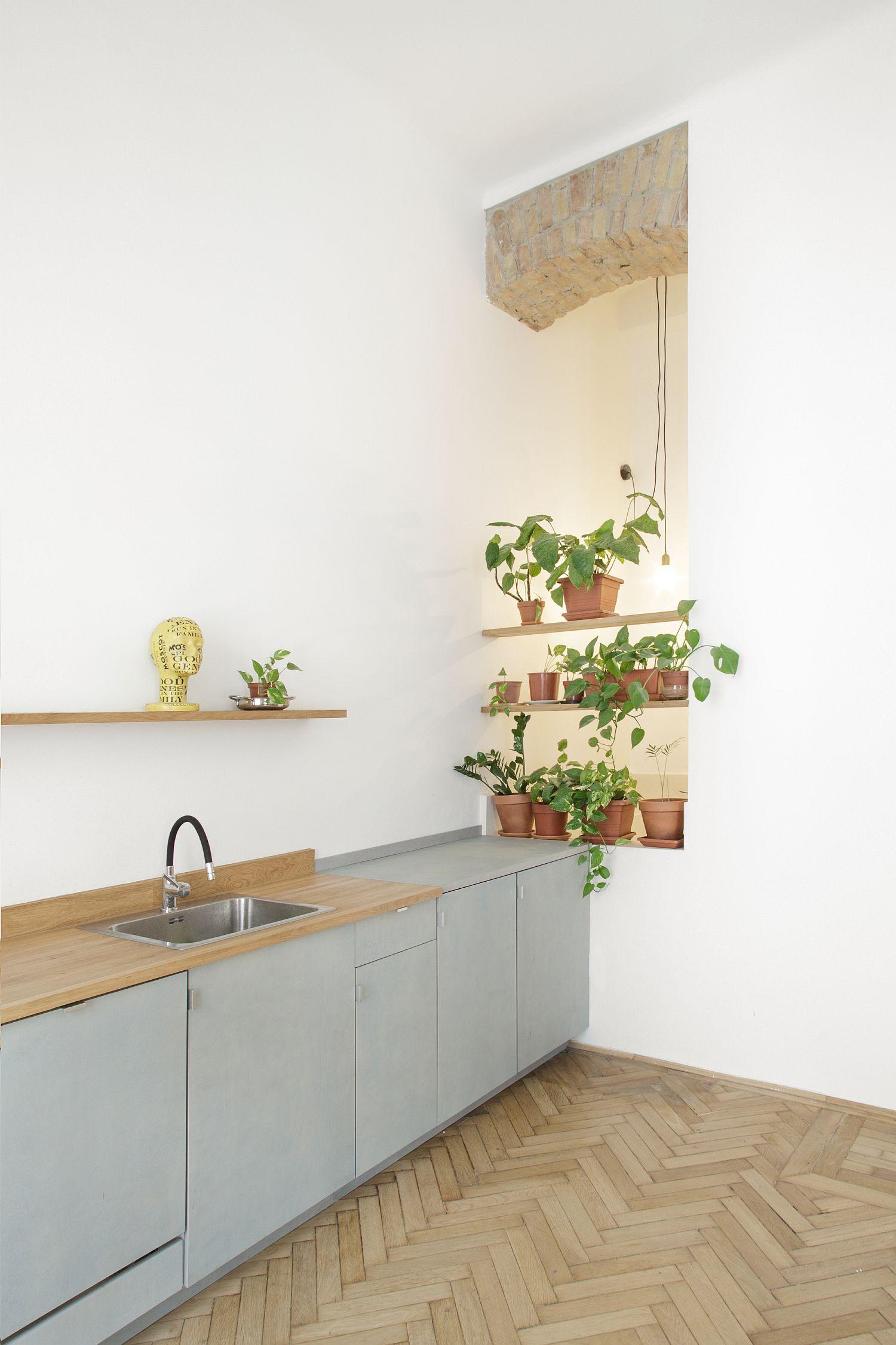 tủ bếp màu xanh nhạt