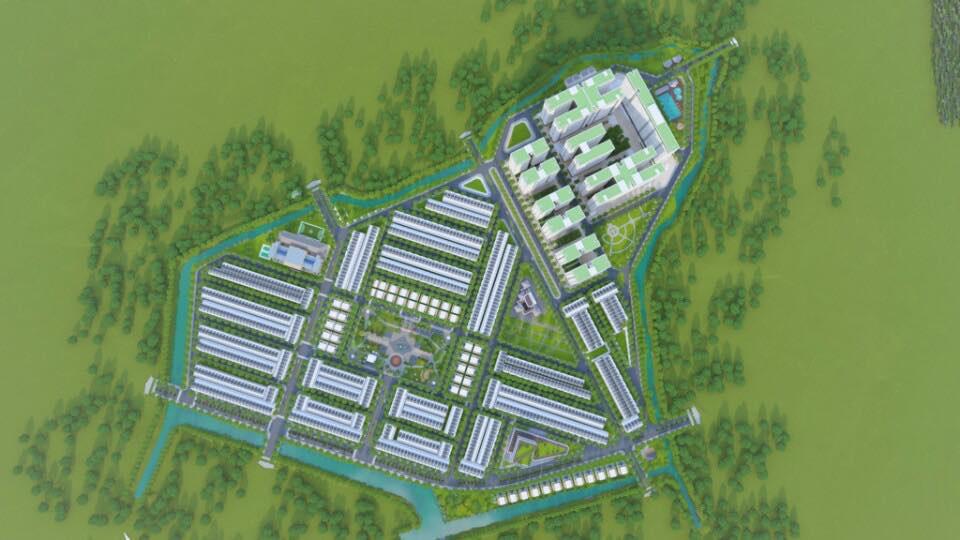 Hình phối cảnh dự án trên nền màu xanh