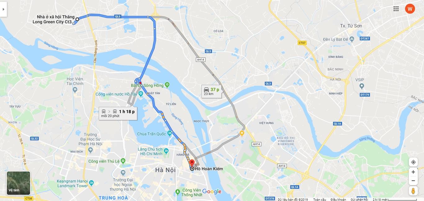 Vị trí dự án Thăng Long Green City trên bản đồ