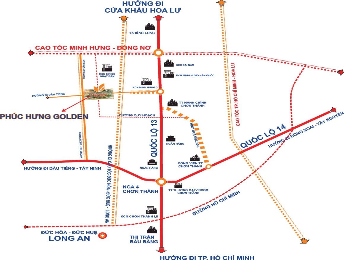 Vị trí dự án Khu đô thị Phúc Hưng Golden trên bản đồ