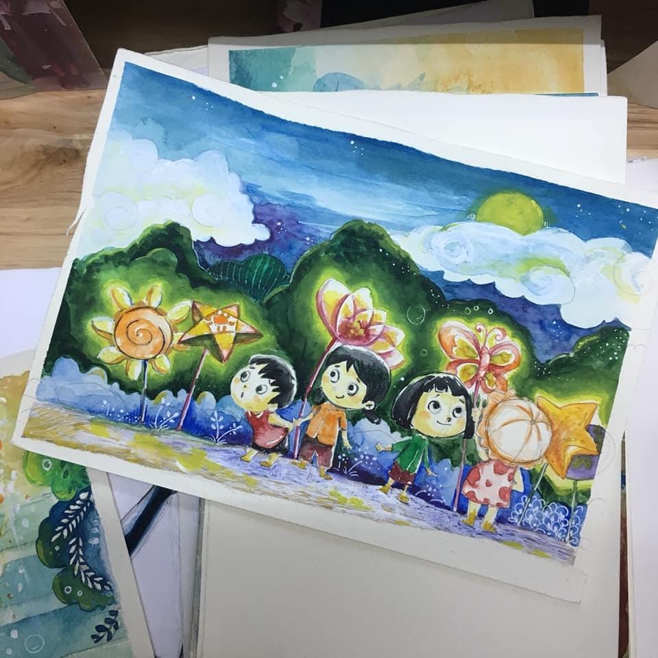 Ảnh chụp một bức tranh vẽ, trẻ em, đèn ông sao, đêm trăng