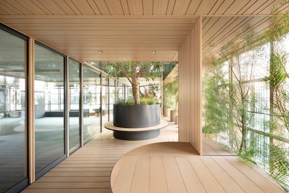 Không gian có trần và sàn gỗ cùng cây xanh