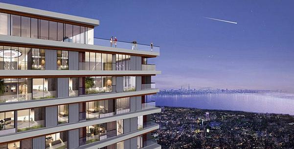 Tòa nhà cao tầng với các căn hộ có tầm nhìn thoáng, nhìn ra biển
