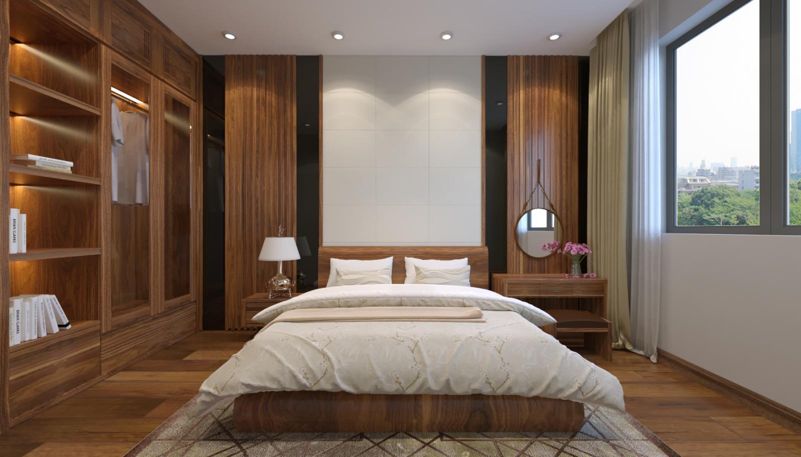 phối cảnh nội thất phòng ngủ phụ