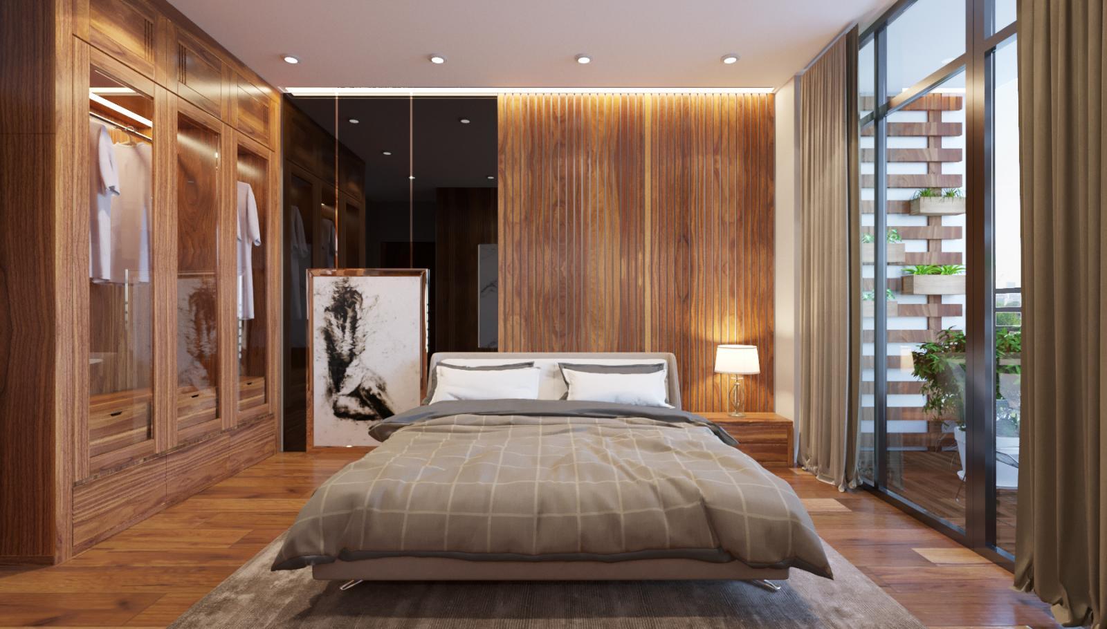 vách gỗ đầu giường