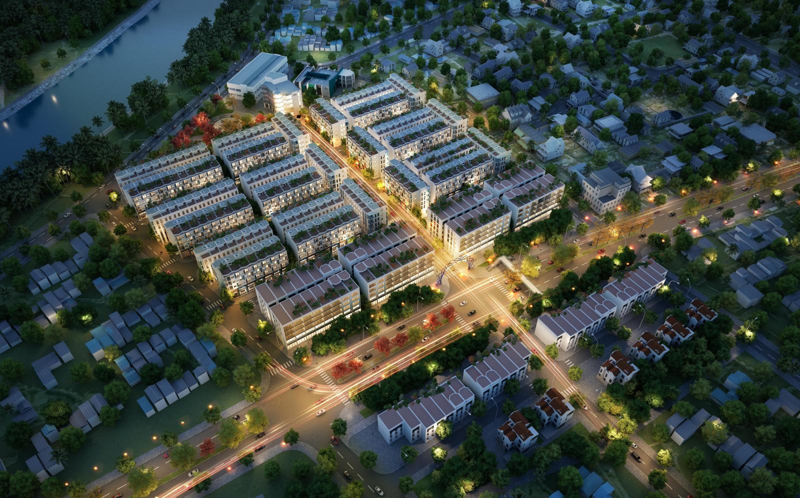 Ảnh phối cảnh từ trên cao một góc khi Tây Hà Nội với nhiều dự án nhà ở, xen kẽ là cây xanh và các con đường