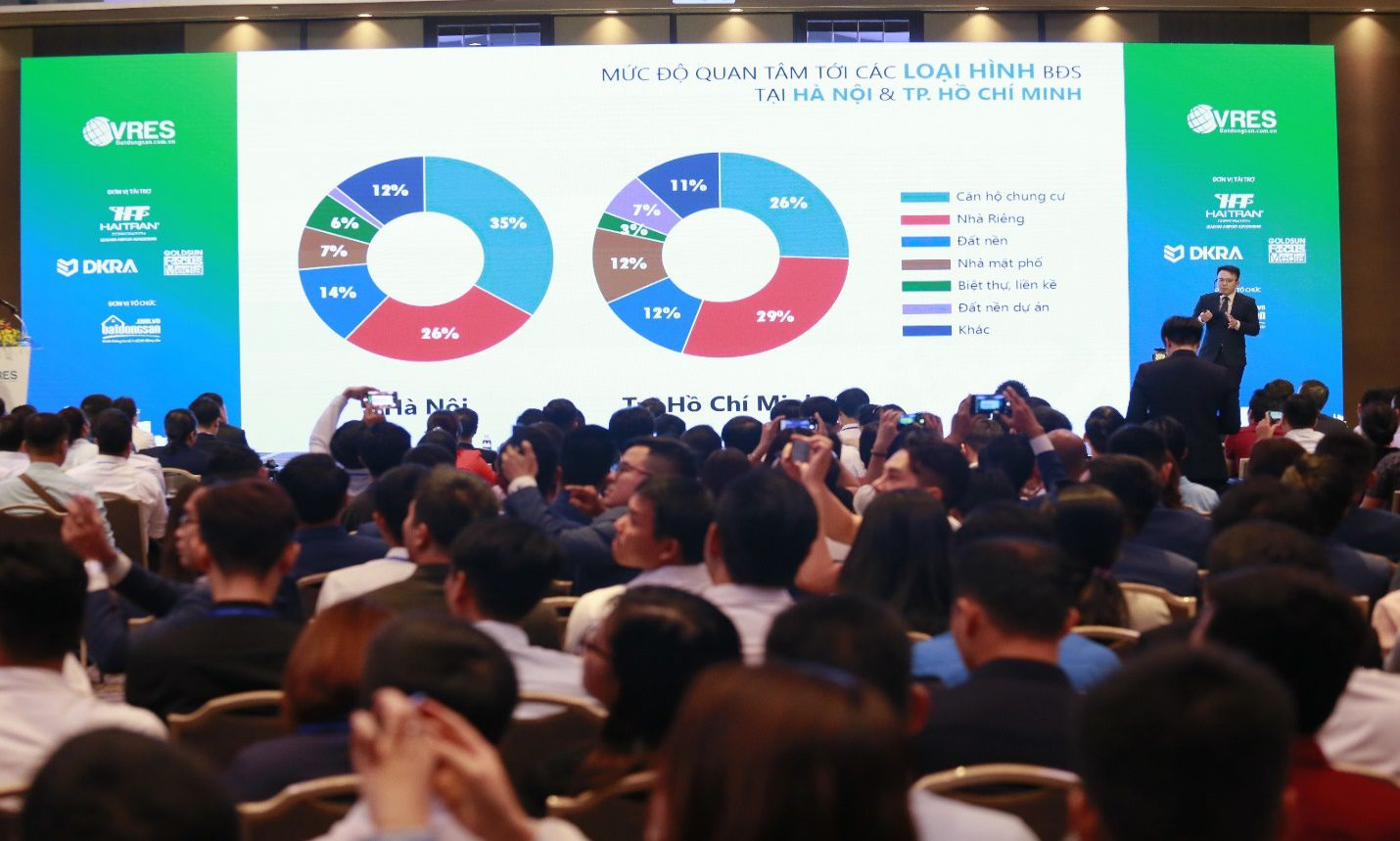 Hội nghị nhiều người ngồi, màn hình chiếu biểu đồ, số liệu