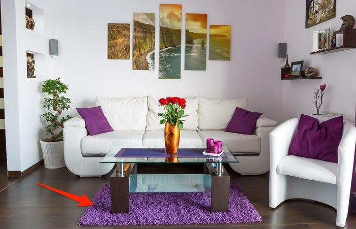 thảm phòng khách màu tím