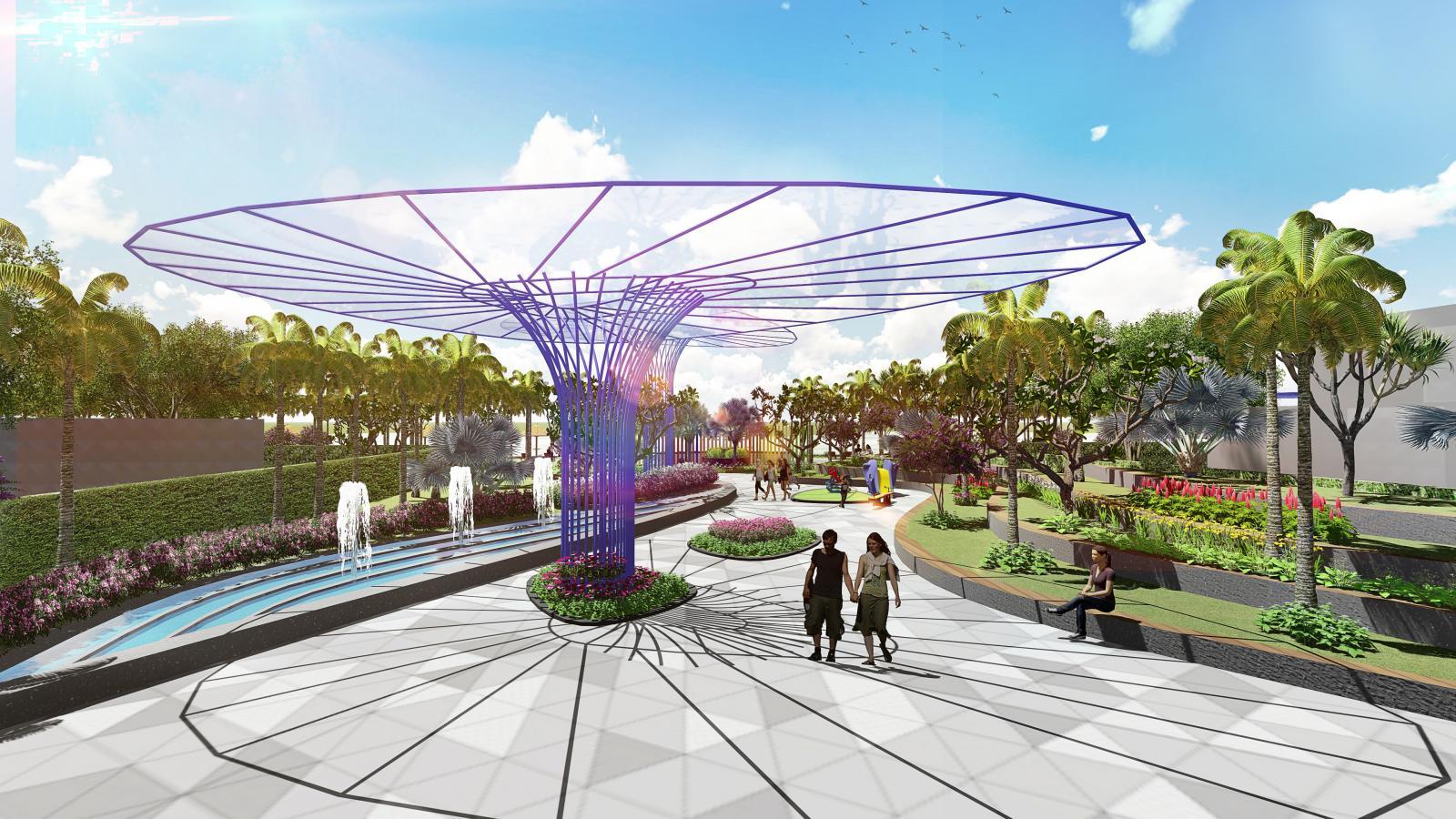 Hình ảnh công viên với cây nấm màu tím, nhiều cây xanh và người qua lại