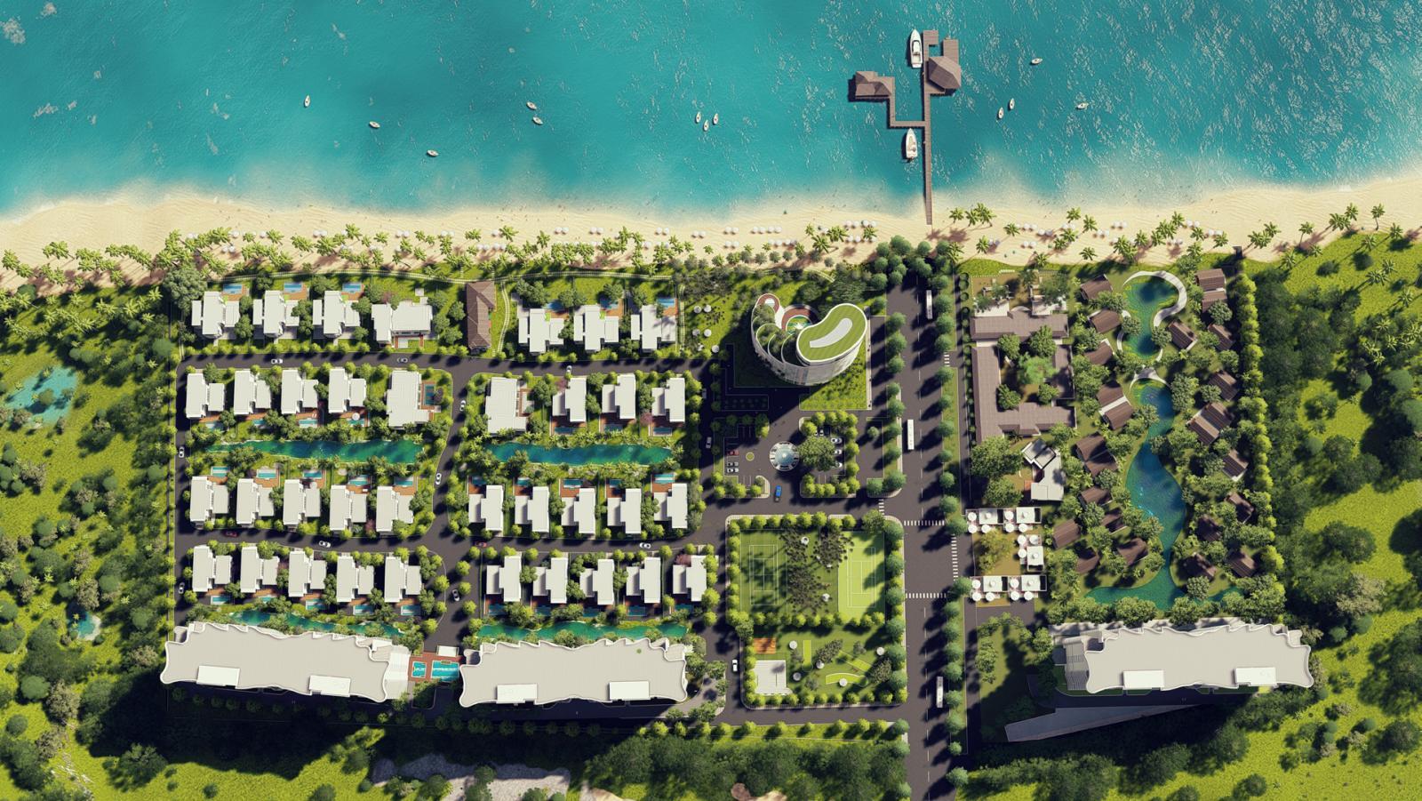 Phối cảnh một dự án bất động sản nằm sát bờ biển, xen kẽ là nhiều cây xanh