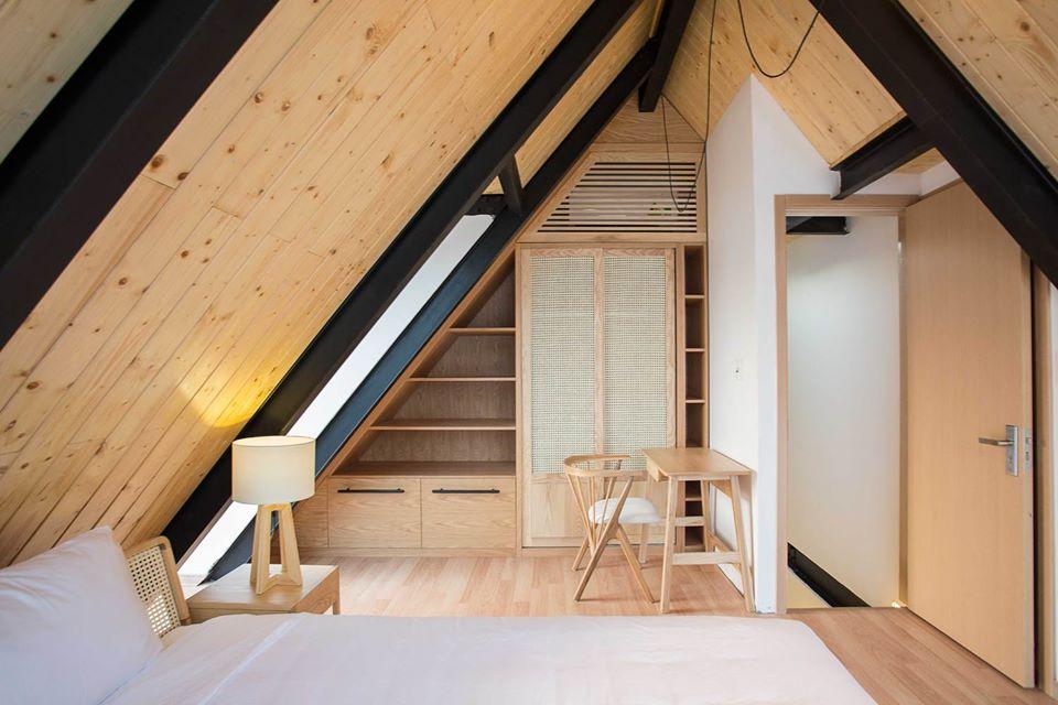 phòng ngủ sử dụng nội thất gỗ