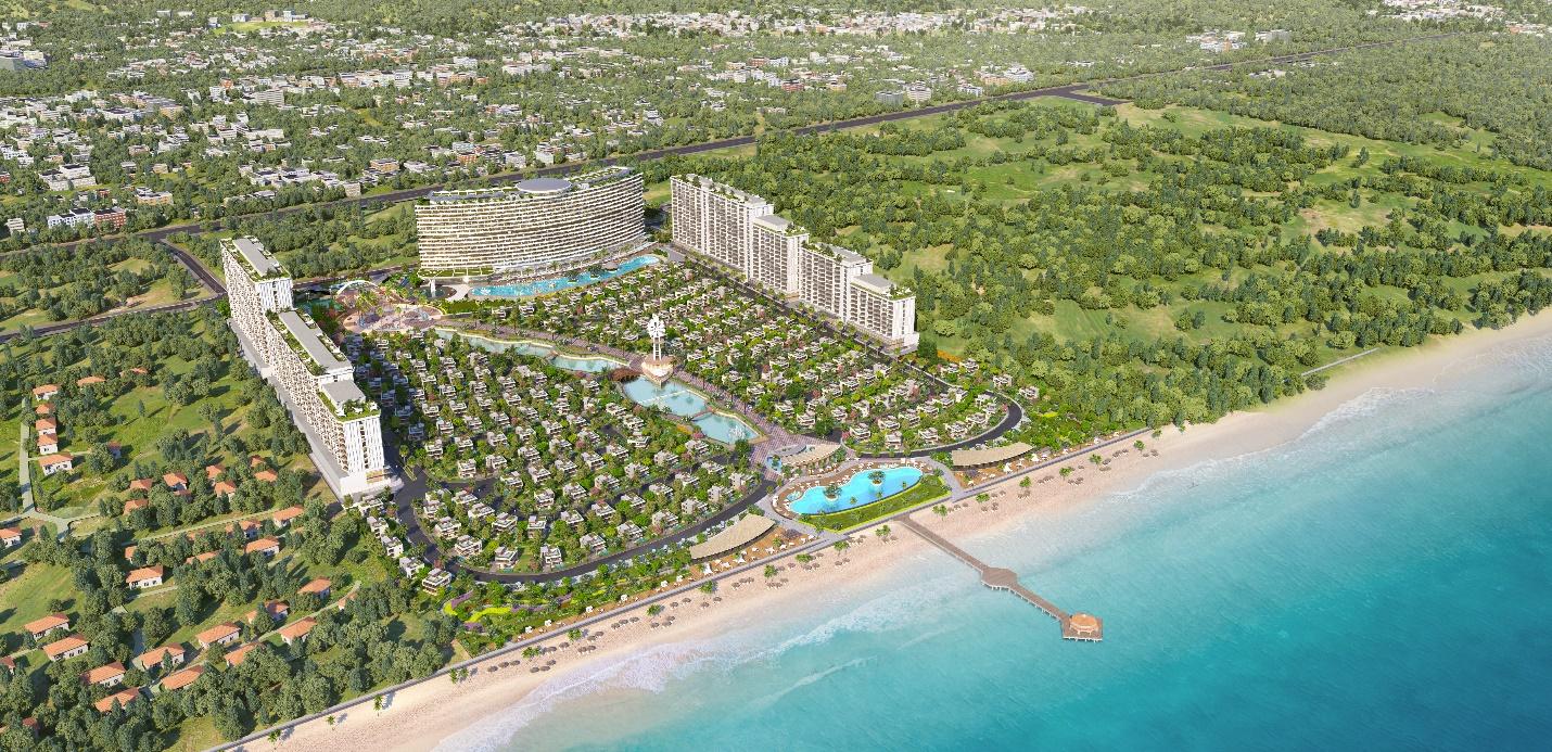 Ảnh phối cảnh một dự án nghỉ dưỡng nằm ven biển, xung quanh có nhiều cây xanh và khu dân cư